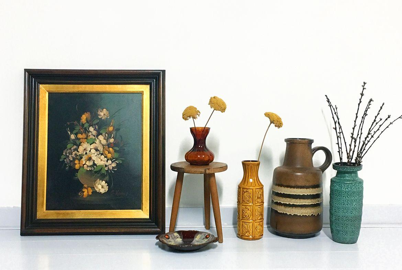 retro vaas bloemen schilderij vintage vaas