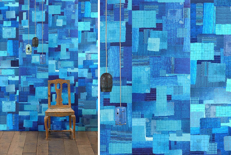 behang donkerblauw nlxl addiction shibori