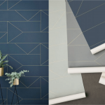 behang lines donkerblauw ferm living